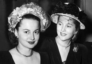 Olivia de Havilland and her sister, Joan Fontaine, 1948, Hollywood