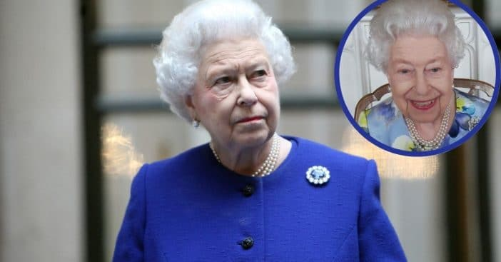 Queen Elizabeth offers her first public smile since her husband's passing