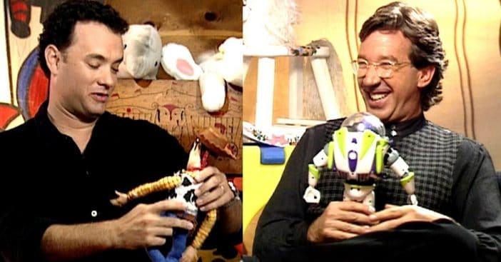 Tim Allen with Sheriff Woody and Tim Allen with Buzz Lightyear