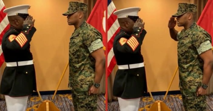WATCH_ Marine Father's Salute To Son Is Giving Everyone Goosebumps