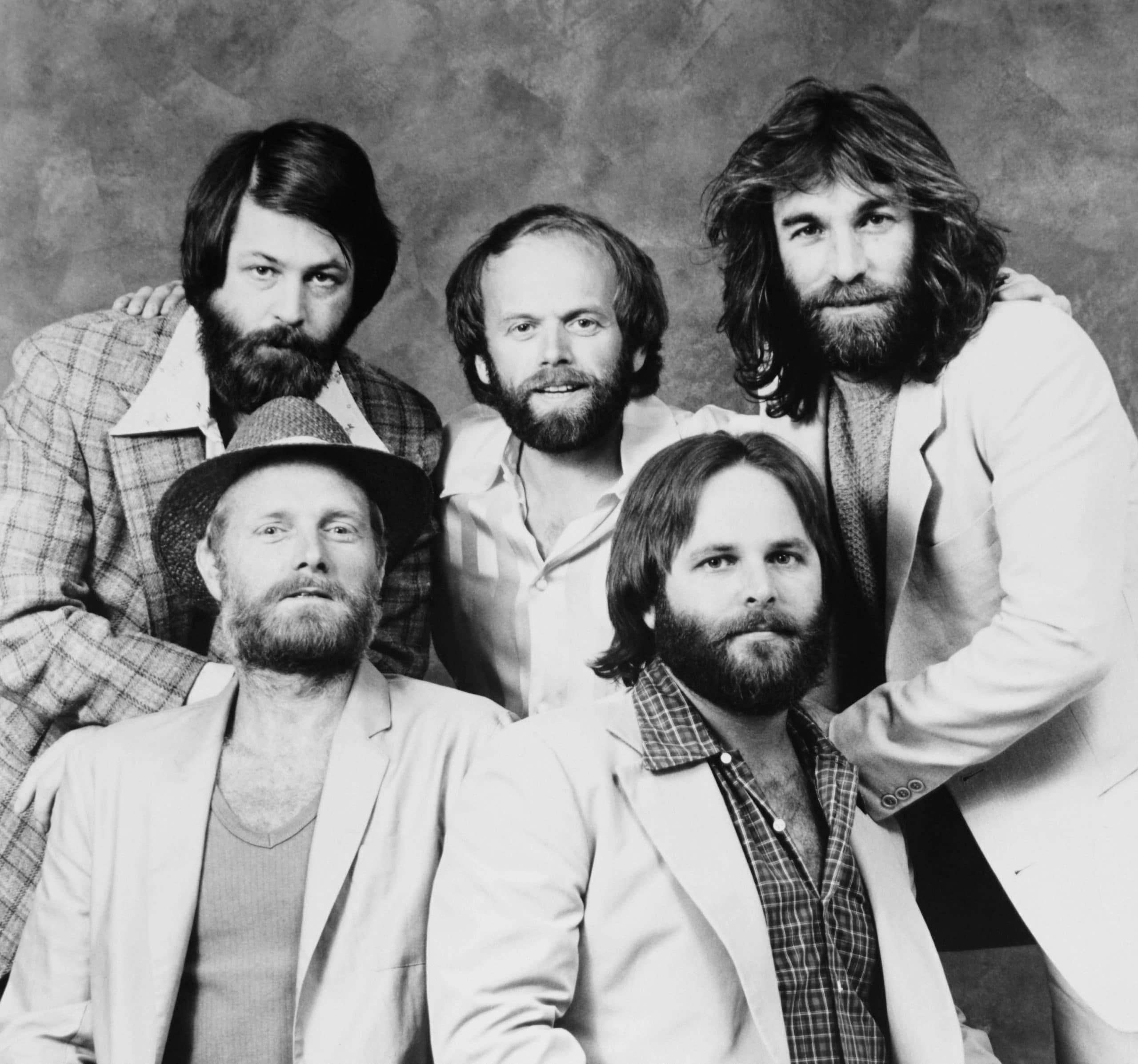 The Beach Boys, front from left: Mike Love, Carl Wilson, rear from left: Brian Wilson, Al Jardine, Dennis Wilson, 1970s
