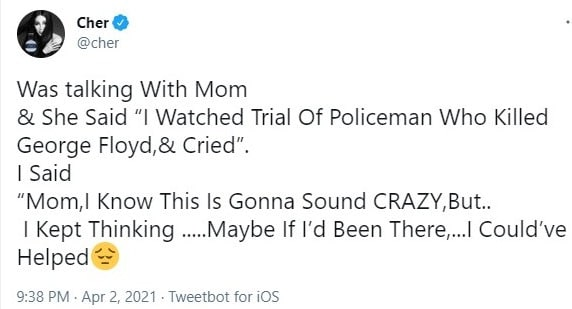 Cher's now-deleted tweet about george floyd