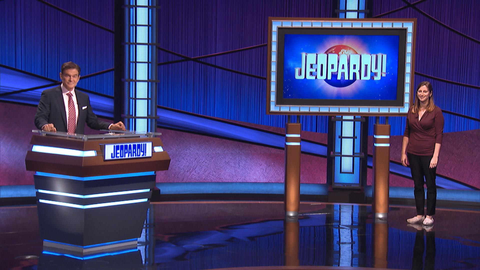 Dr. Oz and contestant Emily Seaman jeopardy