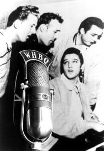 Jerry Lee Lewis, Carl Perkins, Elvis Presley, Johnny Cash at Sun records studio, December, 1956
