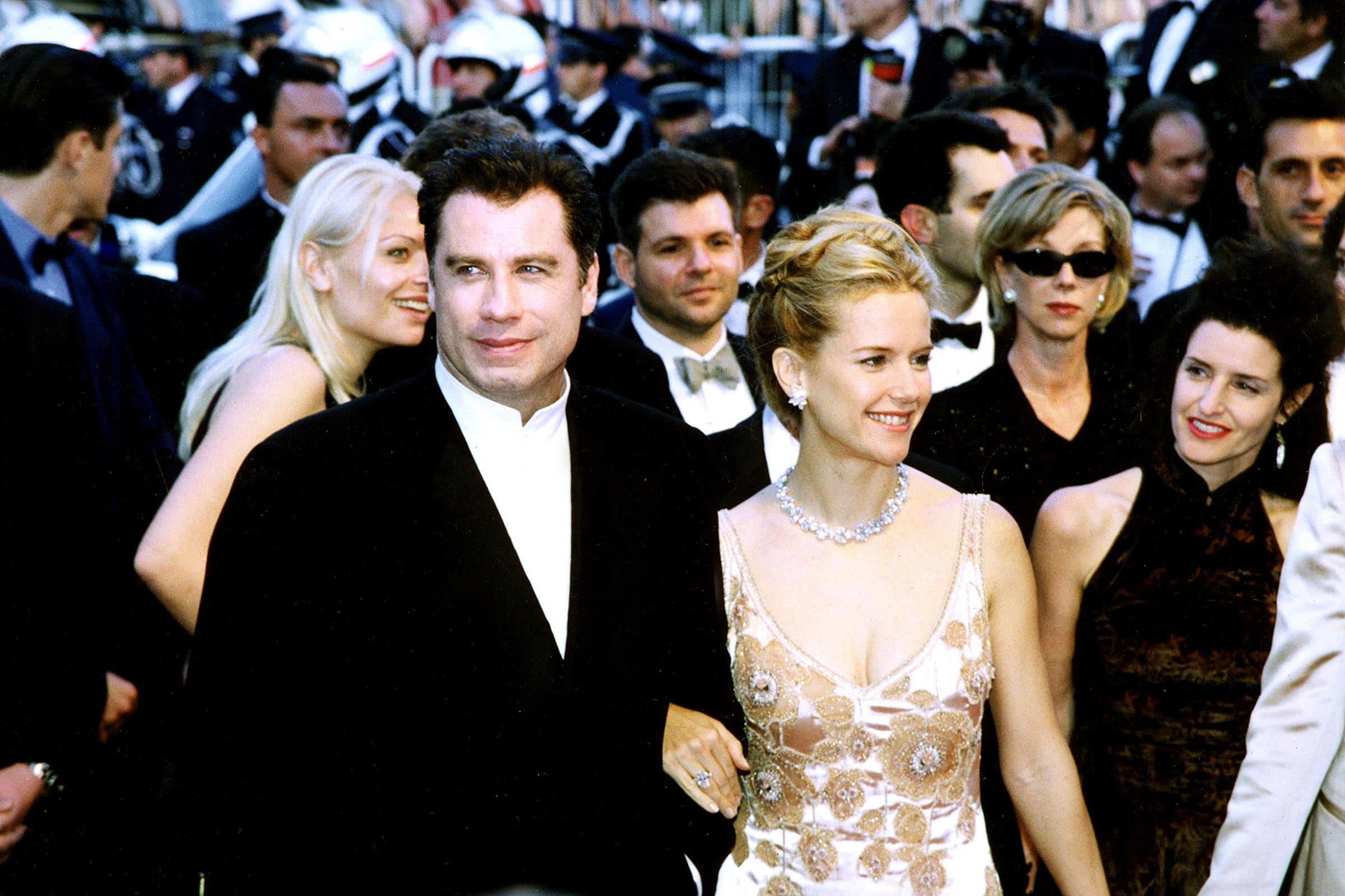 John Travolta, Kelly Preston at Cannes Film Festival, 1998