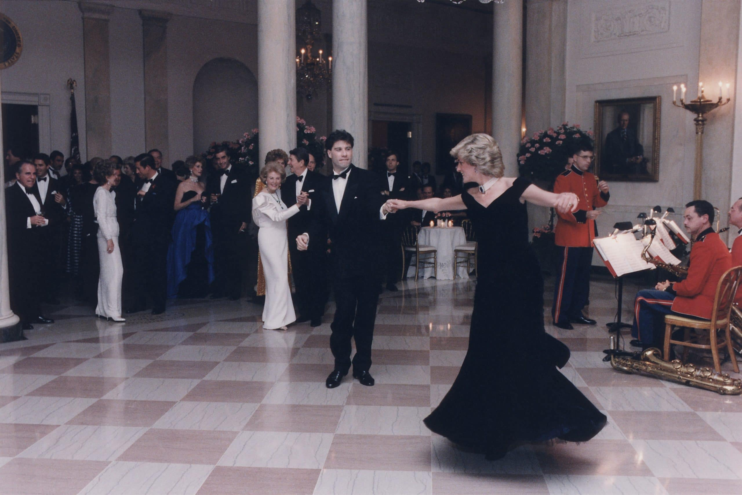 Princess Diana dancing with John Travolta after a White House dinner