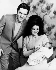 Elvis Presley, Priscilla Presley, with baby Lisa Marie Presley
