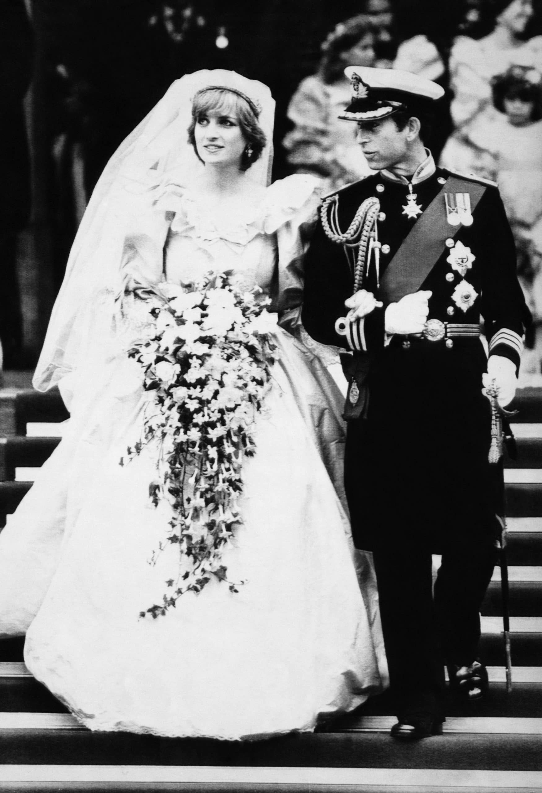 Princess Diana of Wales and Prince Charles of Wales, on their wedding day