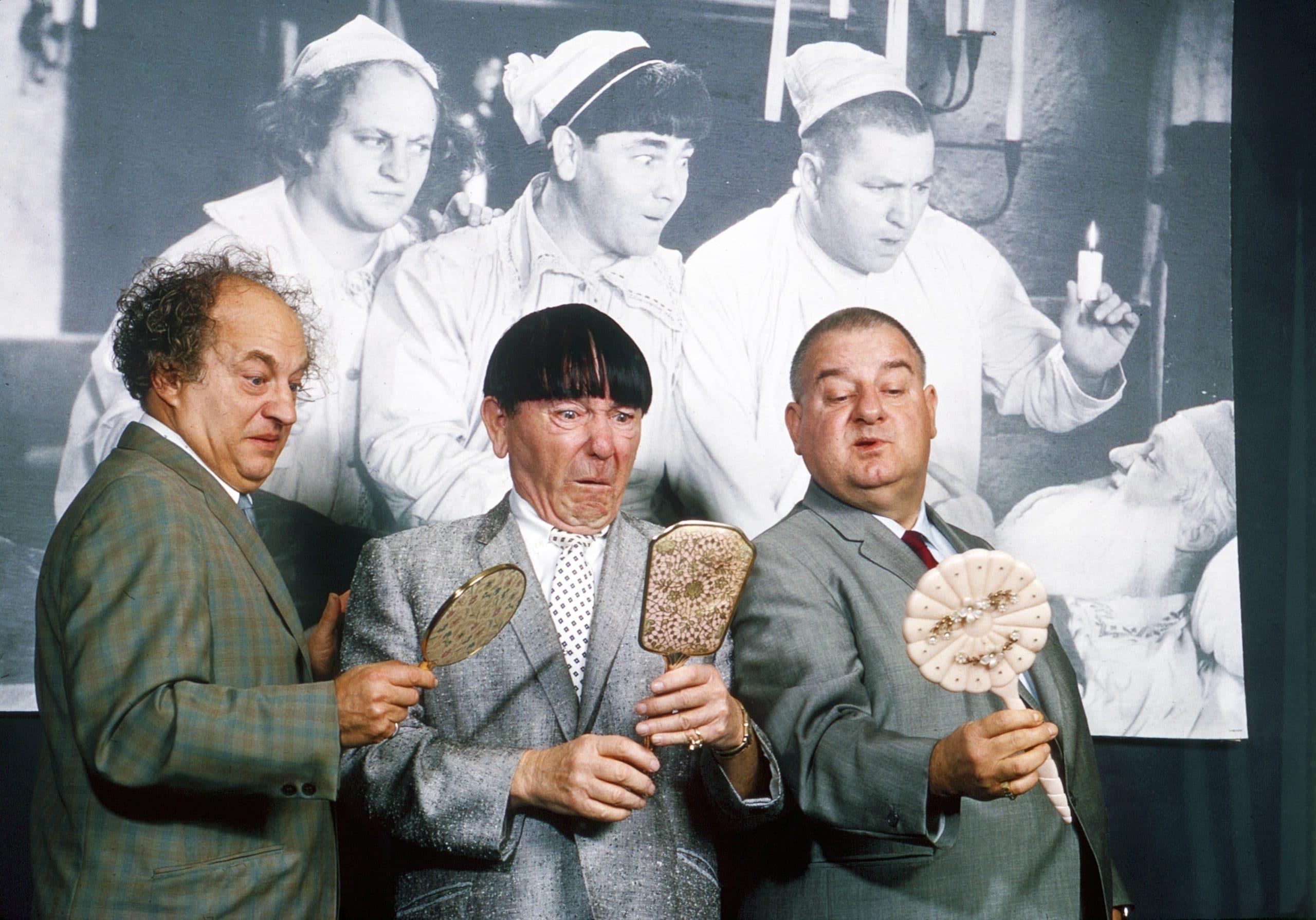 THE THREE STOOGES, from left: Larry Fine, Moe Howard, Joe DeRita