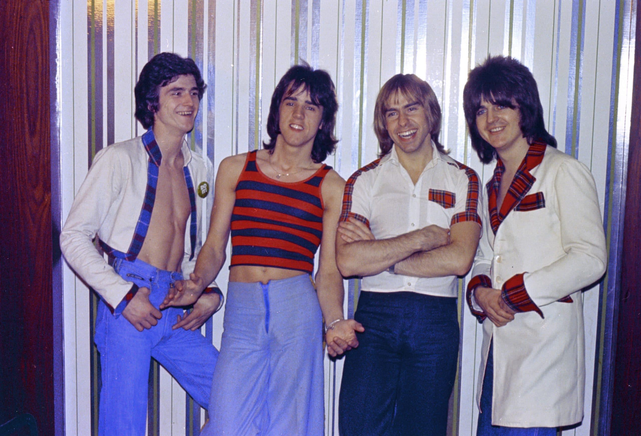 Bay City Rollers, (l to r) Les McKeown, Stuart 'Woody' Wood, Derek Longmuir, Eric Faulkner, circa 1970s