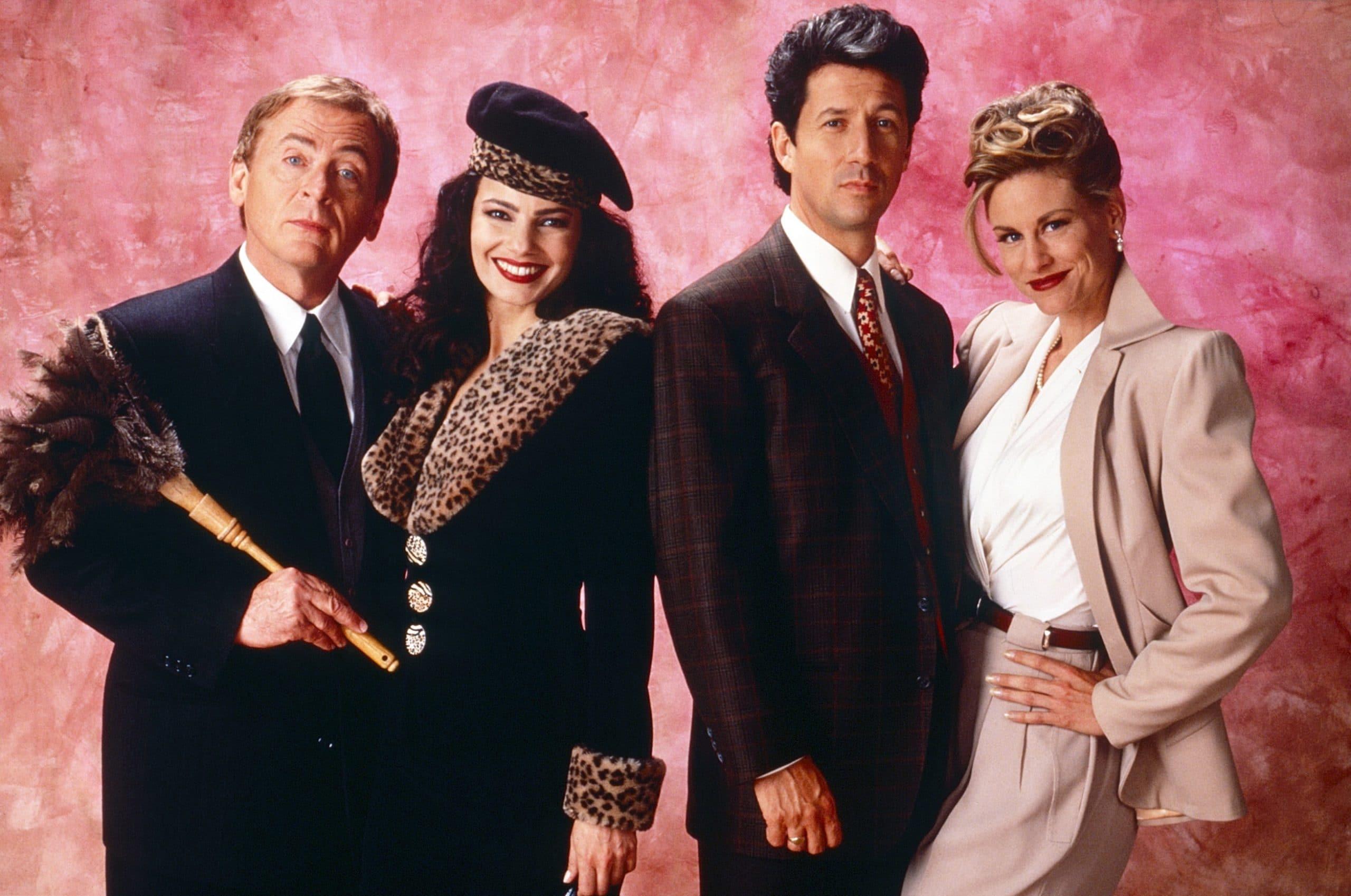 THE NANNY, from left: Daniel Davis, Fran Drescher, Charles Shaughnessy, Lauren Lane