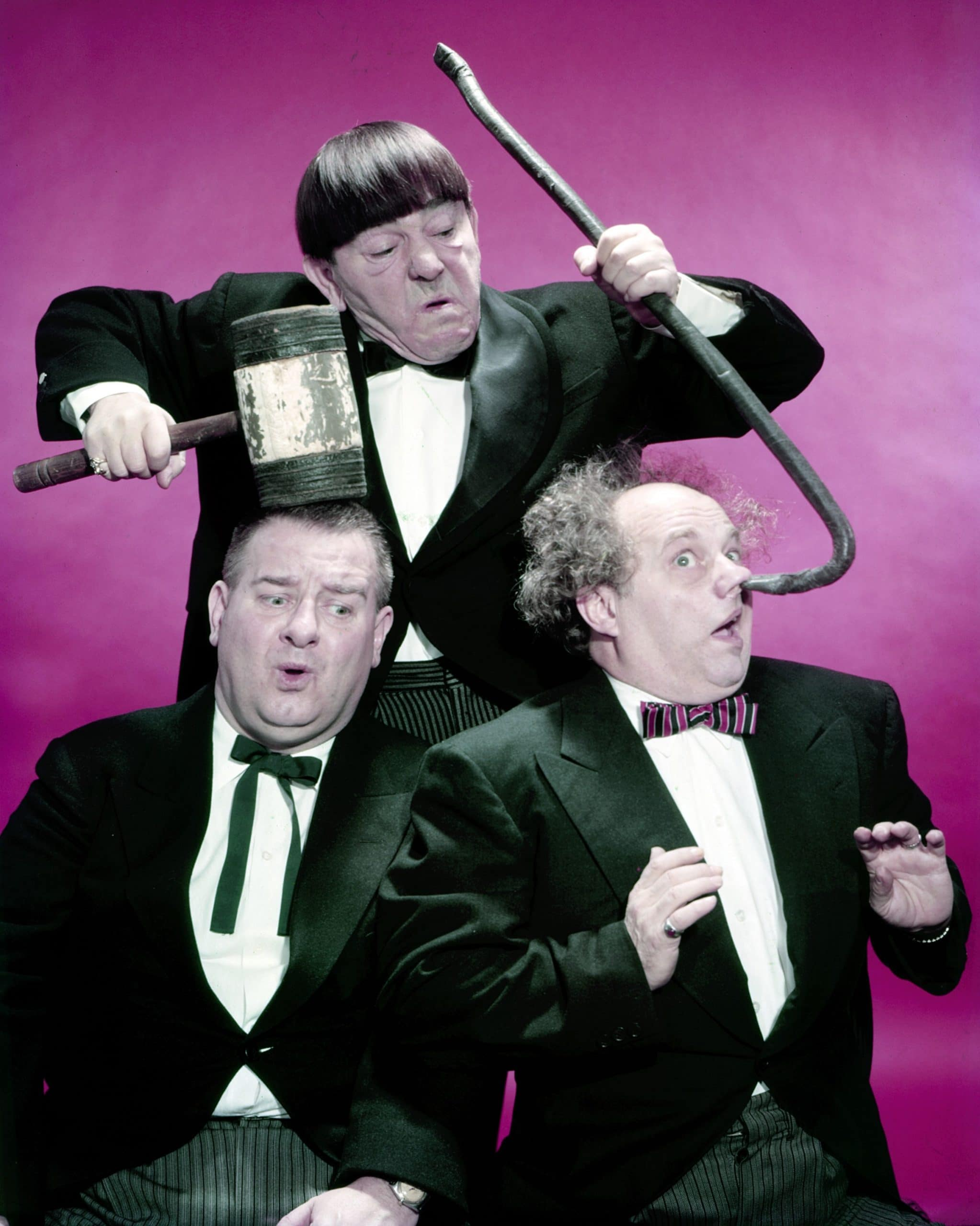 THE THREE STOOGES, from left: Joe DeRita, Moe Howard, Larry Fine, 1960s
