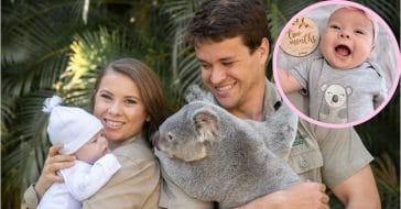 Bindi Irwin, Chandler Powell, and daughter Grace at two months of age