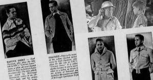 Karl Swenson modeling the latest jacket and shacket fashion of the 1940s