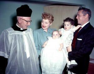 Lucille Ball, Desi Arnaz with newborn, Desi Arnaz, Jr. and daughter Lucie