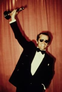 1975: JACK NICHOLSON holds up his Best Actor Oscar for ONE FLEW OVER THE CUCKOO'S NEST, 1976
