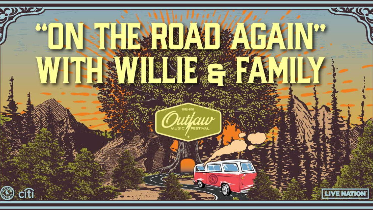 """willie nelson """"on the road again"""" outlaw tour"""