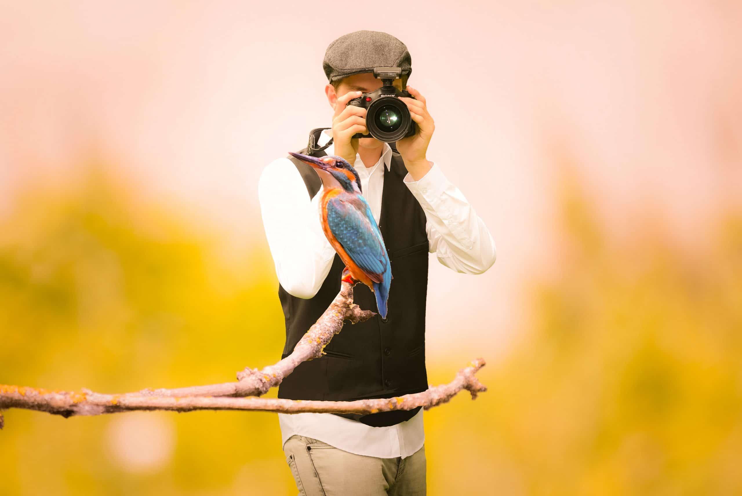 Man taking a photo of a bird