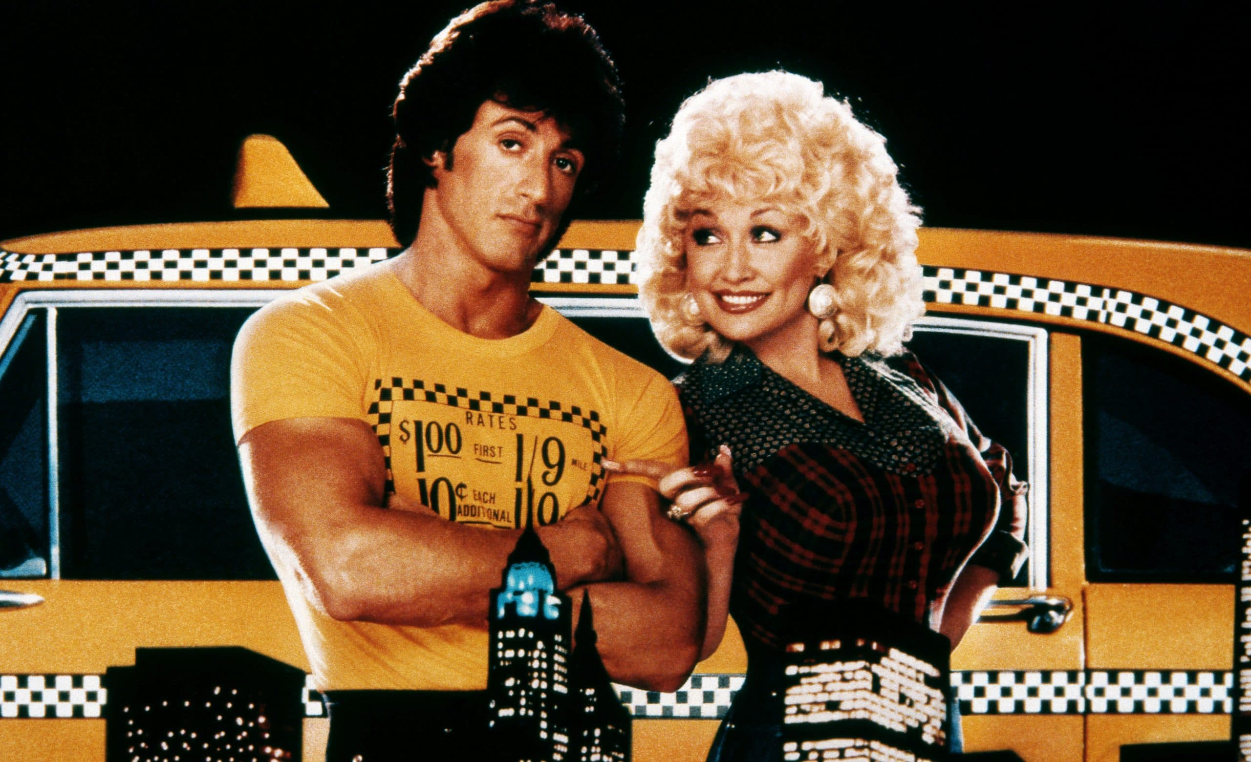 RHINESTONE, from left: Sylvester Stallone, Dolly Parton, 1984