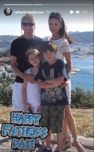Catherine Zeta-Jones with her father and children