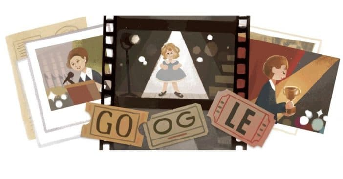 Early June Google Doodle featuring important moments from Shirley Temple's life
