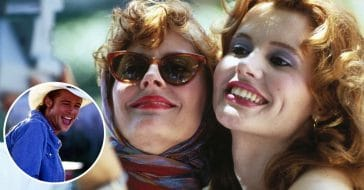 Susan Sarandon surprised by Brad Pitt in Thelma and Louise