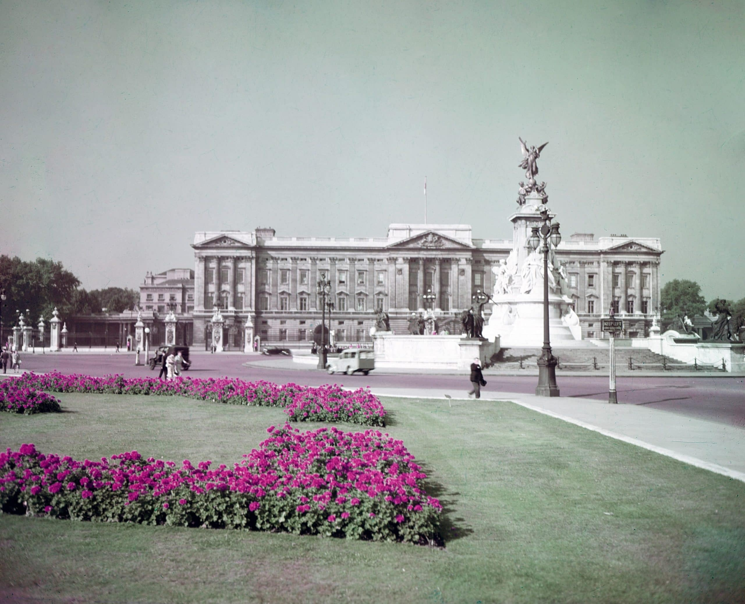 Buckingham Palace, home of Queen Elizabeth II, the Queen of the United Kingdom, circa 1950s