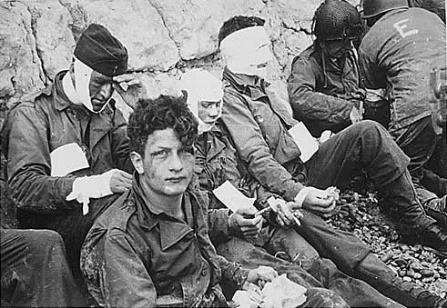 wounded soldiers on D-Day