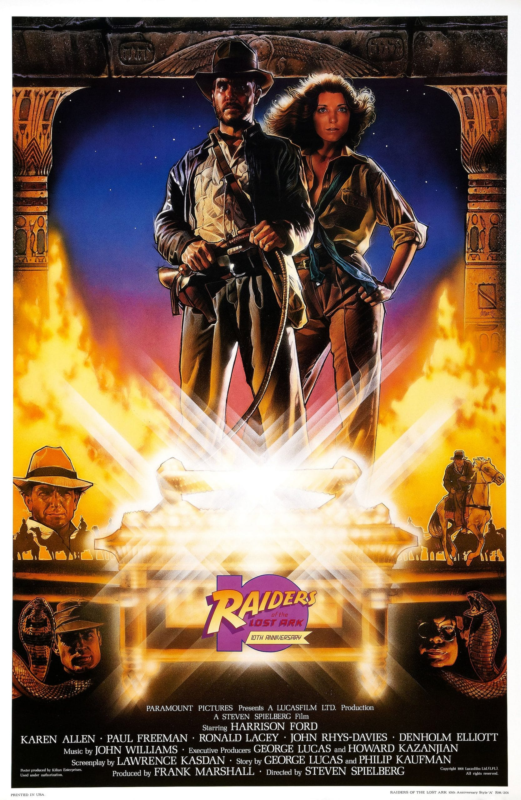 RAIDERS OF THE LOST ARK, US 10th anniversary re-issue poster, top, from left: Harrison Ford, Karen Allen, 1981