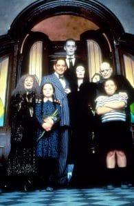 THE ADDAMS FAMILY, from left: Judith Malina, Christina Ricci, Raul Julia, Carel Struycken, Anjelica Huston, Christopher Lloyd, Jimmy Workman