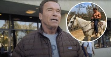 Arnold Schwarzenegger son Joseph shows off muscles while on horseback