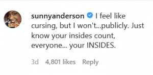 Sunny Anderson of The Kitchen won't curse...but she will share an important reminder