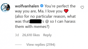 Wolfgang Van Halen is here to stand up for his mom