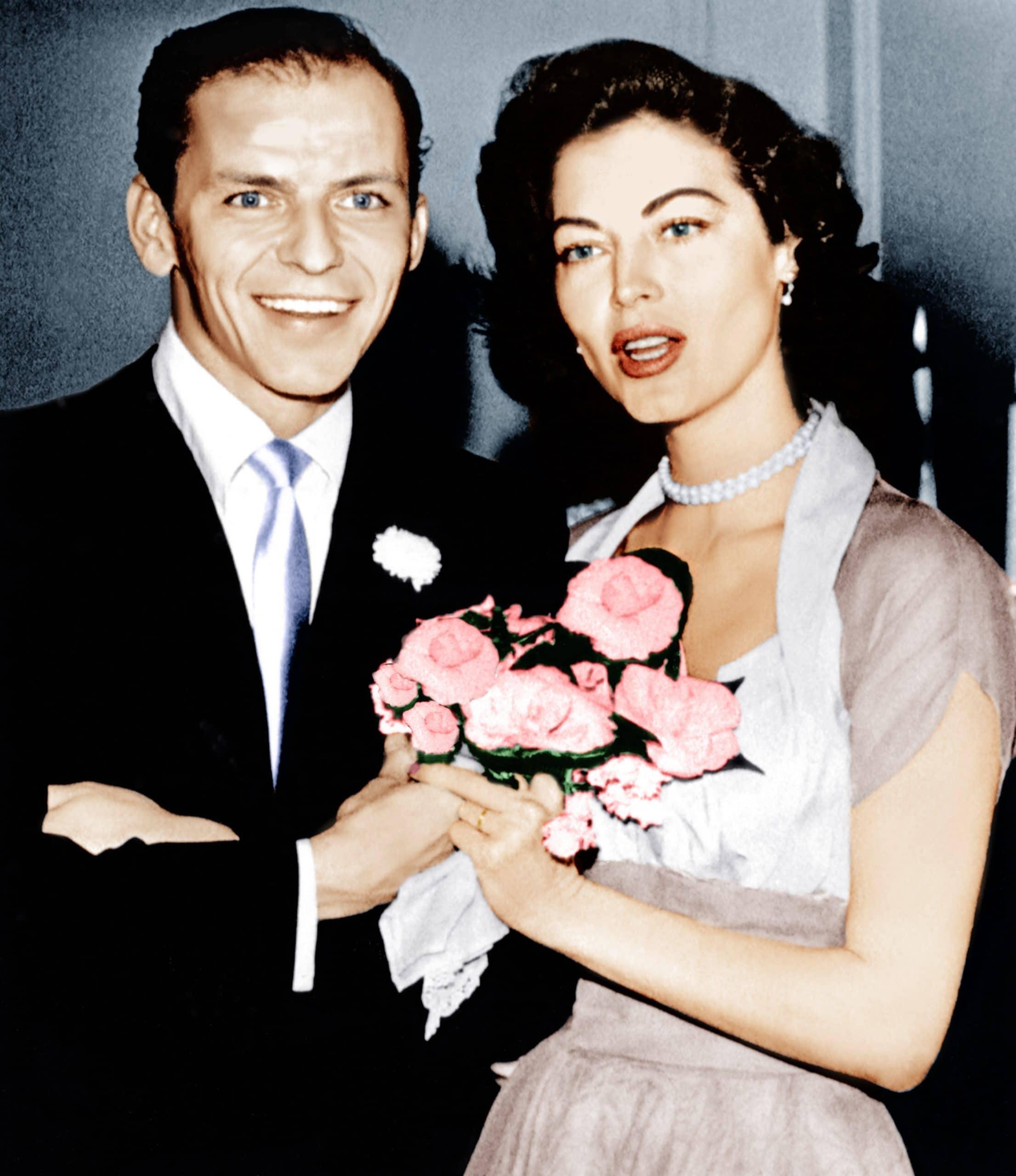 Frank Sinatra, Ava Gardner on their wedding day, 1951