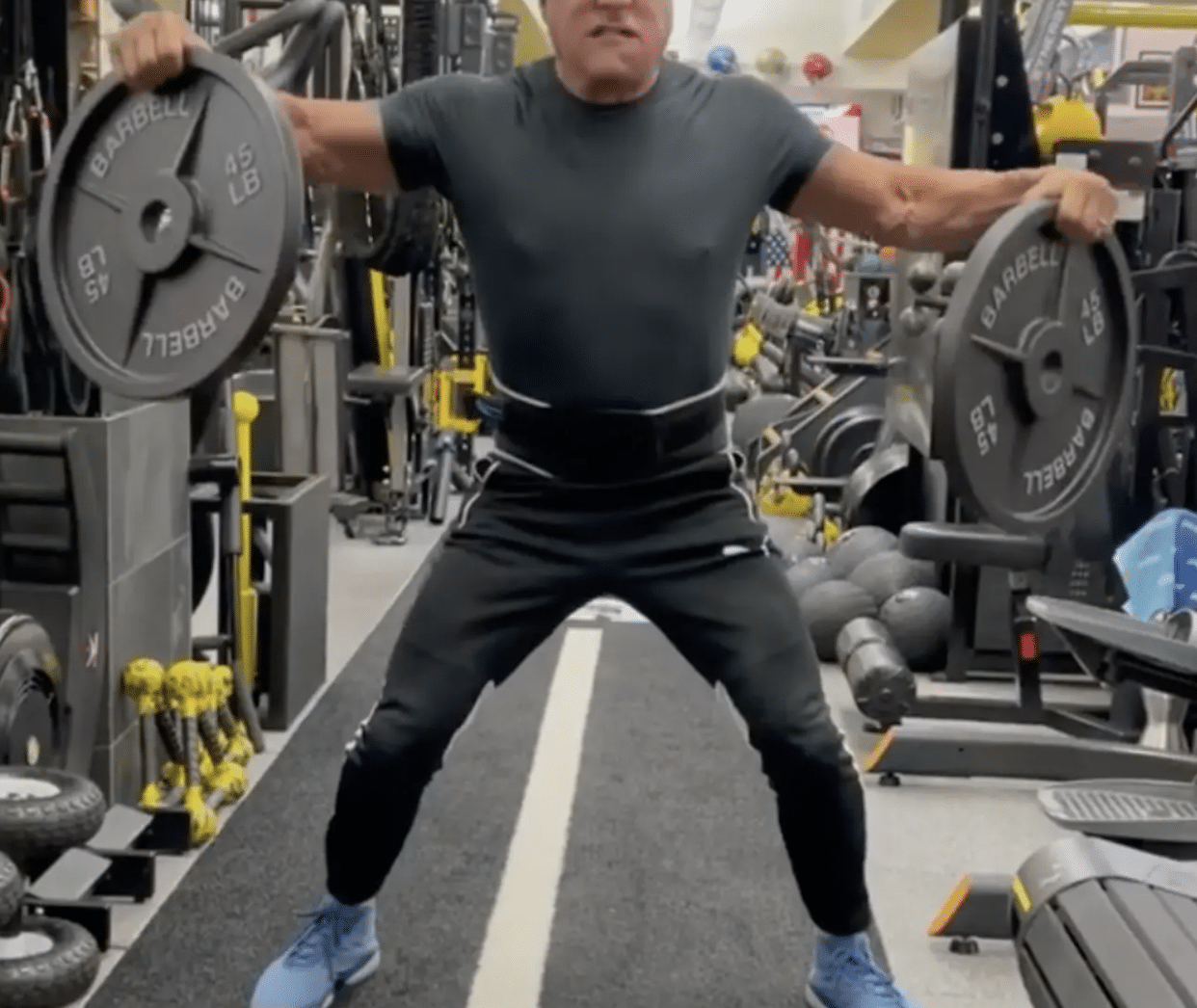 Sylvester Stallone's weight-lifting video