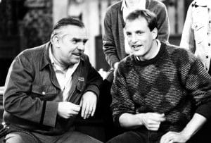 CHEERS, from left, John Ratzenberger, Woody Harrelson, 1982-93