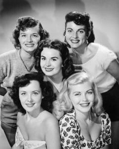 Angie Dickinson (top left), Suzanne Ames, Mary Ann Edwards, Donna Cole, Dawn Oney, selected from over 200 girls to appear on 'Colgate Comedy Hour,'