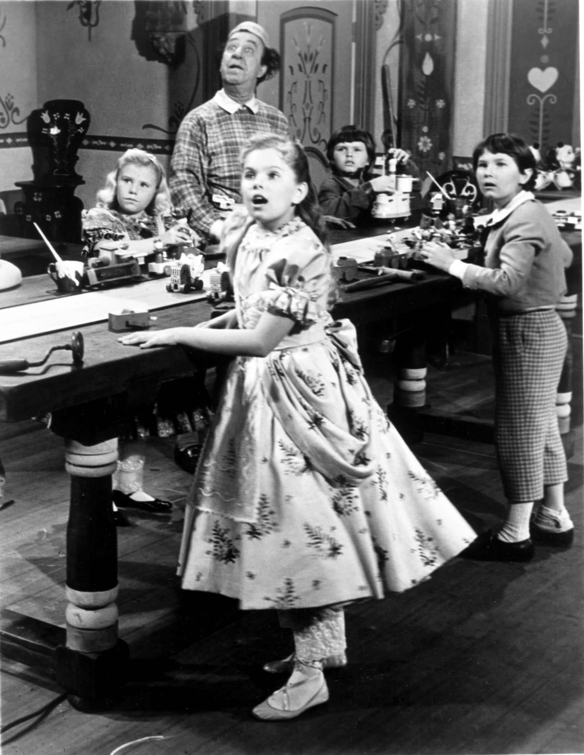 BABES IN TOYLAND, from left, front, Ann Jillian, Kevin Corcoran; back, Ed Wynn, 1961