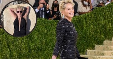 Sharon Stone in her black Met Gala dress and black swimsuit