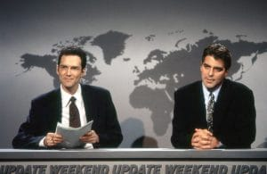SATURDAY NIGHT LIVE, from left: Norm MacDonald, George Clooney, 'Weekend Update