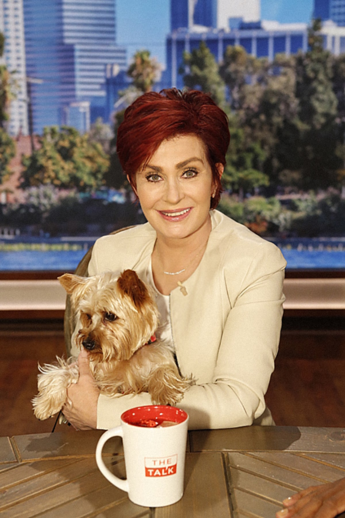 THE TALK, (from left): co-host Sharon Osbourne with her dog, Charlie
