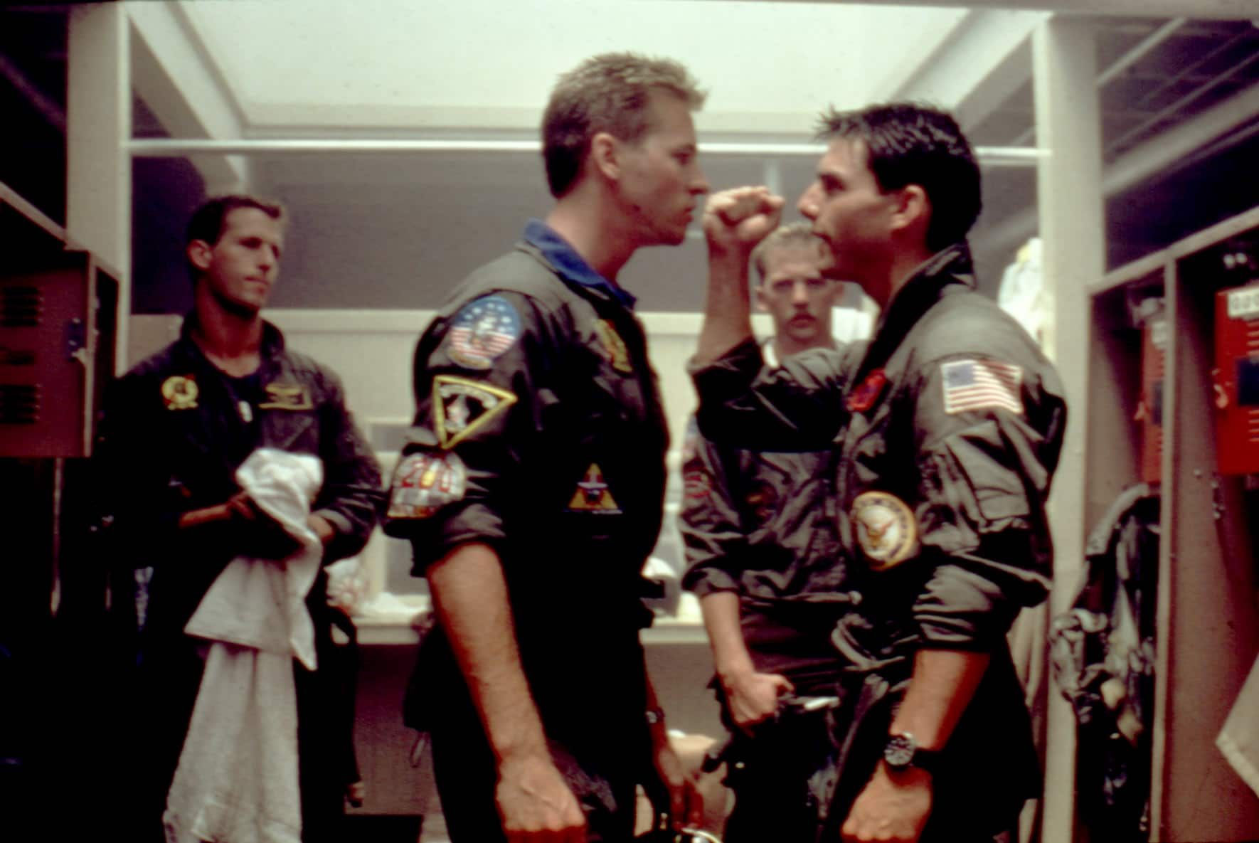 TOP GUN, Rick Rossovich, Val Kilmer, Anthony Edwards, Tom Cruise, 1986