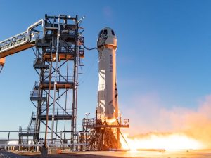 A spacecraft with Blue Origin, space company of Jeff Bezos