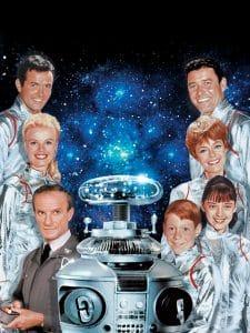 LOST IN SPACE, (left row) Mark Goddard, Marta Kristen, Jonathan Harris, (ctr) The Robot, (right row) Guy Williams, June Lockhart, Angela Cartwright, Bill Mumy