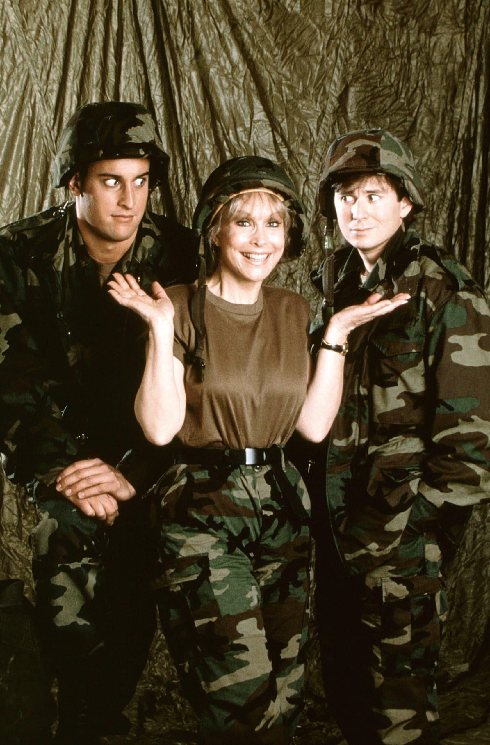 YOUR MOTHER WEARS COMBAT BOOTS, (from left): Matthew Ansara, Barbara Eden, David Kaufman, 1989